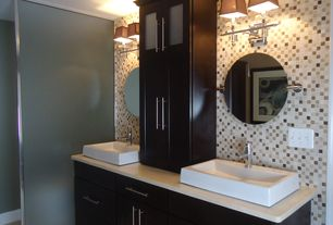 Contemporary Master Bathroom with European Cabinets, Flat panel cabinets, Master bathroom, Double sink, Glass panel, Flush