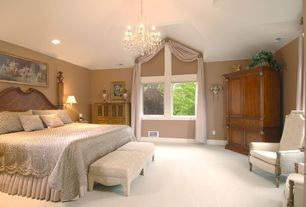 Traditional Guest Bedroom with Chandelier, High ceiling, Carpet, can lights, picture window