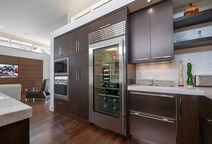 Contemporary Kitchen with Mazama Hardwood - Exotic Acacia Homewell Collection Black Walnut / Acacia / Standard, L-shaped
