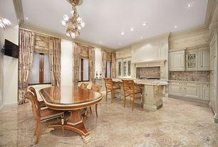 Traditional Dining Room with Wall sconce, Standard height, stone tile floors, can lights, simple marble tile floors, Casement