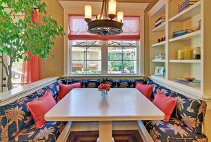 Traditional Kitchen with Crown molding, Pendant light, Window seat, Crystal Vase Triangle Top, Built-in bookshelf