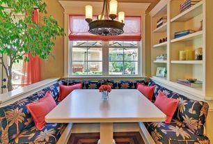 Traditional Kitchen with Paint 1, Casement, Breakfast nook, Built-in bookshelf, Window seat, Pendant light, Standard height