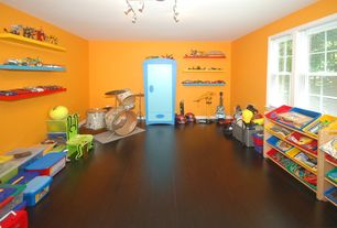 Modern Playroom with Floating shelves, Paint 1, Bamboo floors, Laminate floors