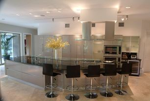 Modern Kitchen with Flush, Glass counters, Pendant light, Kitchen island, Glass panel, High ceiling, Undermount sink