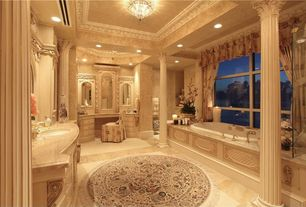 Traditional Master Bathroom with partial backsplash, Bathtub, interior wallpaper, Ms international crema delicata marble