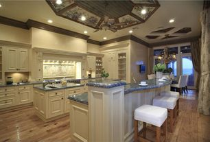 Traditional Kitchen with Inset cabinets, Chandelier, Kitchen island, full backsplash, Custom hood, L-shaped, Ceiling fan