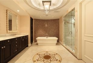 Traditional Master Bathroom with rectangular mirror, Shower head, Flush, Double sink, flush light, Flat panel cabinets