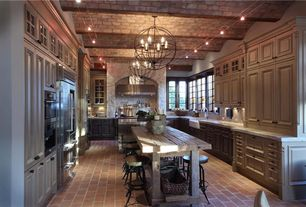 Eclectic Kitchen with Complex Marble, Echo peak designs reclaimed barnwood trestle dining table, Kitchen island, Raised panel