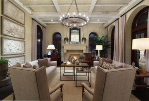 Contemporary Living Room with Box ceiling, can lights, Cement fireplace, Carpet, Transom window, Fireplace, High ceiling