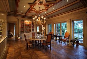 Traditional Dining Room with French doors, Box ceiling, Hardwood floors, Crown molding, Chandelier, High ceiling