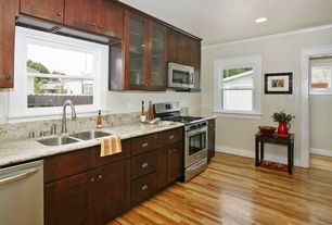 Traditional Kitchen with Complex Granite, Paint 1, Undermount sink, One-wall, built-in microwave, Casement, can lights