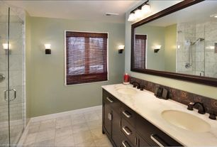 Modern Full Bathroom with Powder room, European Cabinets, Wall sconce, Rain shower, frameless showerdoor, partial backsplash