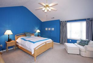 Modern Guest Bedroom with flush light, Ceiling fan, High ceiling, Carpet