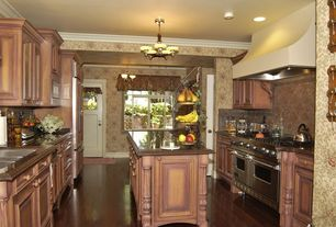 Traditional Kitchen with Undermount sink, Raised panel, Custom hood, Stone Tile, Kitchen island, U-shaped, High ceiling