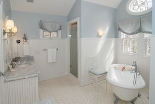 Traditional Full Bathroom with Wainscotting, Master bathroom, Wall sconce, Complex marble counters, Clawfoot, Complex Marble