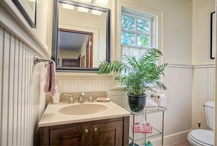 Cottage Powder Room with Flat panel cabinets, Wainscotting, Belmont - 3-Tier Rolling Bath Cart, Undermount sink, Powder room