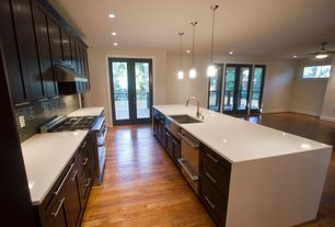Contemporary Kitchen with Subway Tile, French doors, Flush, 4 in. UltraCompact Surface Countertop in Zenith, Farmhouse sink