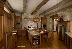 Traditional Kitchen with Flat panel cabinets, Inset cabinets, Built In Panel Ready Refrigerator, Kitchen island, can lights
