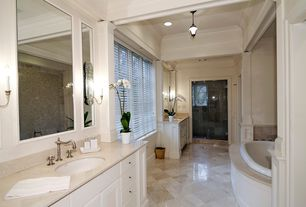Traditional Master Bathroom with Crown molding, Ms international mediterranean taupe limestone, Simple Marble, Wall sconce
