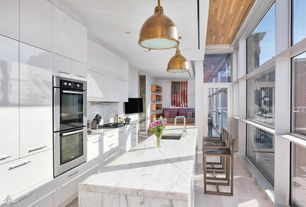 Contemporary Kitchen with picture window, Standard height, Complex marble counters, Breakfast bar, Wall Hood, Kitchen island
