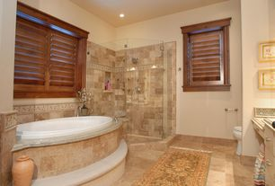 Craftsman Master Bathroom with Ms international ivory 12 in. x 12 in. honed travertine floor and wall tile, Master bathroom