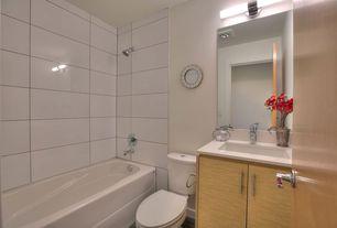 Modern Full Bathroom with tiled wall showerbath, Kovacs P5042-084 Brushed Nickel 2 Light Bathroom Bath Bar, Flush