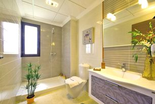 3/4 Bathroom with Inset cabinets, Undermount sink, Handheld showerhead, Flat panel cabinets, flush light, Crown molding