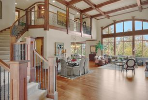 Traditional Great Room with Chandelier, Crown molding, Balcony, Hardwood floors, High ceiling, Box ceiling