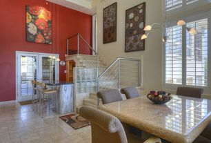 Modern Dining Room with Chandelier, Casement, stone tile floors, High ceiling, sandstone tile floors