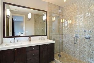 Contemporary Master Bathroom with frameless showerdoor, Undermount sink, Double sink, specialty door, Corian counters, Flush