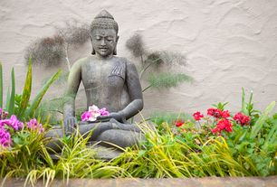 Asian Landscape/Yard with Seated buddha garden statue, Exterior stucco walls