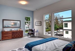 Contemporary Master Bedroom with flush light, Carpet