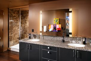Modern Master Bathroom with Simple granite counters, Undermount sink, Flush, Master bathroom, flush light, European Cabinets