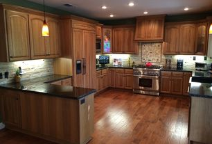 Traditional Kitchen with Simple granite counters, Faber ice ledge stone split face random sized wall cladding tile in white