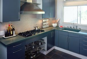 Contemporary Kitchen with Daltile asian black cs53, European Cabinets, slate tile floors, Undermount sink, L-shaped, Flush