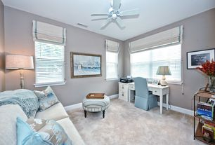 Contemporary Home Office with Bedford 2-Drawer File Cabinet White, Carpet, Meredith Vanity Desk, Ceiling fan