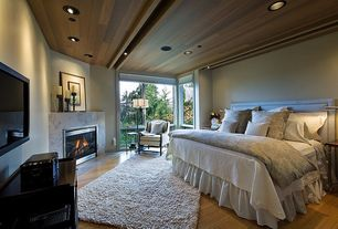 Contemporary Master Bedroom with Built-in bookshelf, Hardwood floors, Cement fireplace