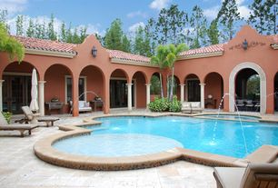 Mediterranean Swimming Pool with exterior tile floors, French doors, Pathway, Fountain, Gate
