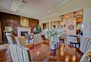 Traditional Dining Room with Crown molding, Standard height, Hardwood floors