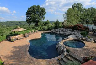Rustic Swimming Pool with Fence, exterior brick floors, Infinity pool, Pathway