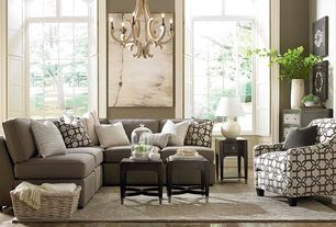 Transitional Living Room with Hardwood floors, Bassett Furniture Corinna Accent Chair, Chandelier, High ceiling