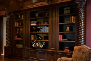 Traditional Living Room with Wood parquet floor, Exposed beam, Columns, can lights, Built-in bookshelf, Hardwood floors