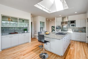 Contemporary Kitchen with Flush, flush light, European Cabinets, Standard height, flat door, Kitchen island, electric cooktop
