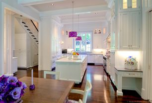 Contemporary Kitchen with Crown molding, Flush, Polished chrome square cabinet knob, Kitchen island, Exposed beam, U-shaped