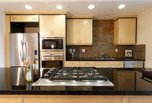 Contemporary Kitchen with Formica counters, Flush, One-wall, Kitchen island, full backsplash, Multiple Sinks, Stone Tile