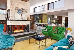 Eclectic Living Room with Concrete floors, High ceiling, Charlotte & Ivy Mary Blue & White Paisley Wing Chair