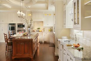 Traditional Kitchen with Flush, Custom hood, Flat panel cabinets, Inset cabinets, Undermount sink, Complex granite counters