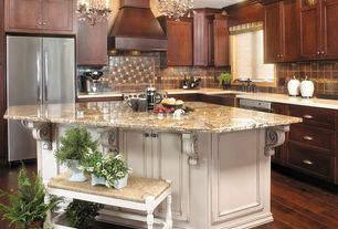 Traditional Kitchen with flush light, Ceramic Tile, Flat panel cabinets, Simple granite counters, Inset cabinets, L-shaped