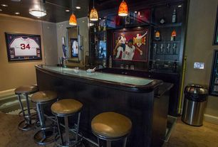 Contemporary Bar with Built-in bookshelf, Hartford 30 in. bar stool - backless - swivel, Pendant light, Wall sconce, Carpet