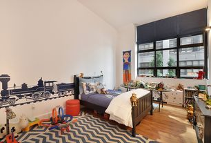 Contemporary Kids Bedroom with Safavieh courtyard blue/beige chevron-pattern indoor-outdoor rug, Hardwood floors, Wall sconce